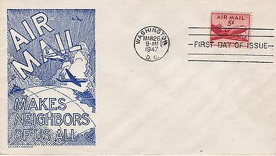First day cover, Scott #C33, blue Anderson cachet, 1947