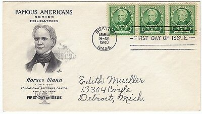 First day cover, Planty #869-2, Horace Mann, Art Craft cachet, 1940