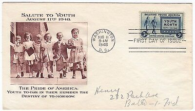 First day cover, Planty #963-28, Salute to Youth, Fulton cachet, 1948