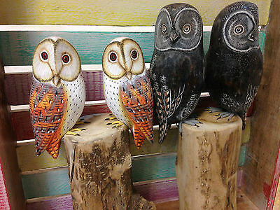 Hand Carved Hand Painted Detailed Wood Double 2x Barn Owl on wooden stump