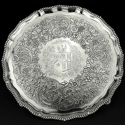 Rare Antique George III Solid Sterling Silver Salver/Tray London 1771, 1,270g