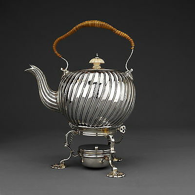 Ornate Antique Solid Sterling Silver Tea Kettle on Stand, Sheffield, 1883