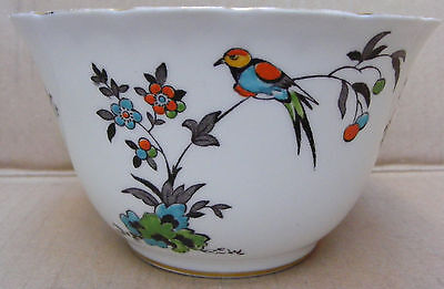 Tuscan China Sugar/ Slop Bowl With Bird Of Paradise Decoration C.1936 - 47