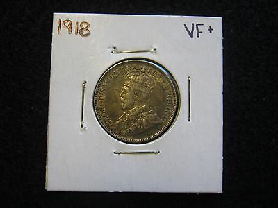 Canada 1918 25 cents Quarter in VF+ Very Fine+ Condition Sterling Silver