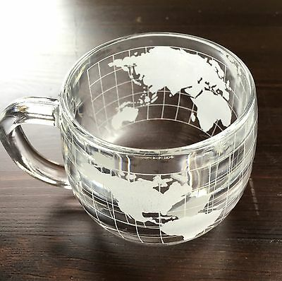 Vintage Nestle Nescafe World Map Grid, Etched Clear Glass Collectible Mug