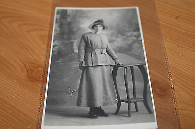 Real People Postcard (Black & White) Lady in Skirt and Hat 1920's?