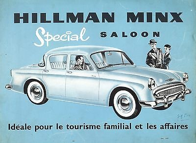 "1957- HILLMAN ""Minx Special"" Saloon - 1390 cc - French sales brochure, prospekte"