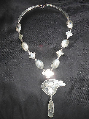 "Original Native American Navajo Eddy Chaco 26"" Bear Necklace Sterling Dead Pawn"
