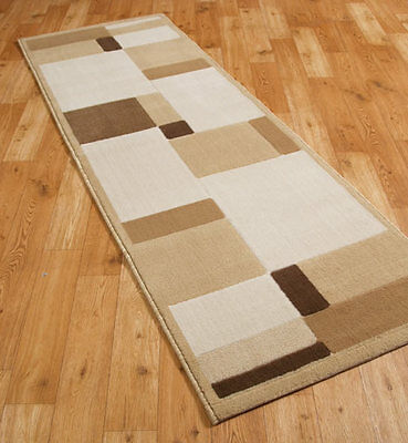 Entice Boxes design Runner Rug in Creams and Browns in size 67x300cm TH3
