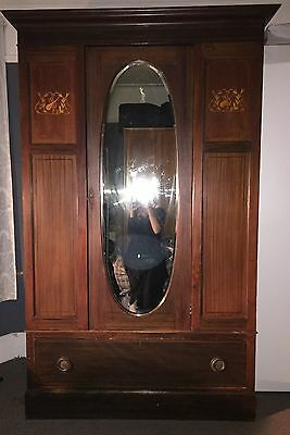 Antique Edwardian Mahogany Double Wardrobe With Mirror Door And Draw Circa 1900