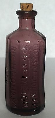Col Sam Johnson Jaundice Bitters Red Glass Bottle Richmond VA 1852 Wheaton