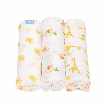 Savannah Stroll 3-Pack Baby Gro Muslin Blanket Swaddle Cover by The Gro Company