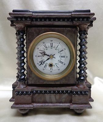 Ornate Antique European Style Marble Clock w. Beautiful Twisted Pillars