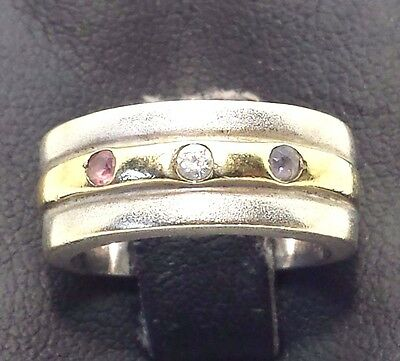 Designer Fine 14k Gold Multi Gem Diamond Sterling Silver 925 Ring 5g Sz5 BC584