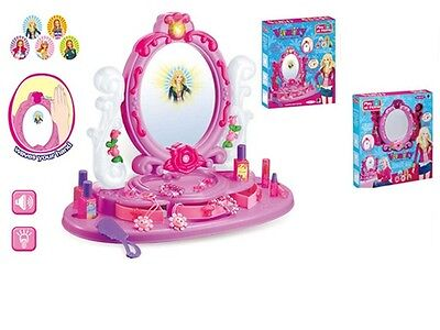 Princess Glamour Mirror Dressing Table Beauty Play Set Light & Music toy Girls