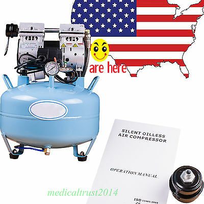 USA SALE Dental Noiseless Silent Oilless Air Compressor contain any oil fume air