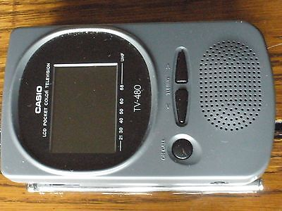 Vintage Casio LCD Pocket Color Television TV-480 with case