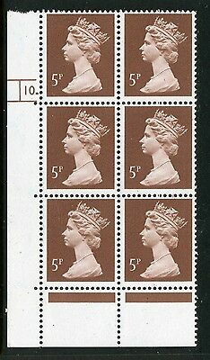 Machin  (photo) 5p dull red-brown MNH Plate block of 6 Plate 10 dot