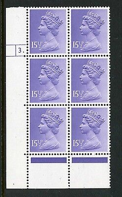 Machin (photo)15.5p FCP pale-violet MNH Plate block of 6 Plate 3 dot