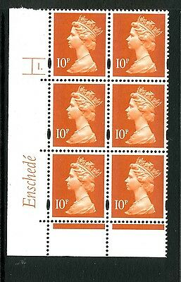Machin 10p (photo) Enschede MNH Plate block of 6 Plate 1 dot