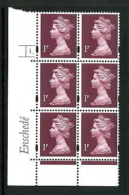 Machin 1p (photo) Enschede MNH Plate block of 6 Plate 1 dot