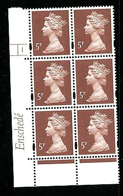 Machin 5p (photo) Enschede MNH Plate block of 6 Plate 1 no dot