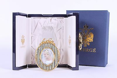 FABERGE Guilloche Enamel & Gilt Oval Cradle Picture Frame ~ NEW in Box!!!