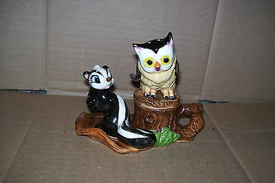 Vintage Owl & Flower From Winnie The pooh Condiment Set Salt & Pepper Shakers