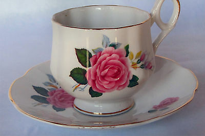Royal Dover China Tea Cup And Saucer, Roses, Made In England