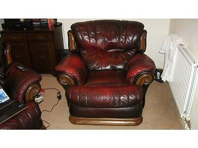 armchair rustic red leather recliner