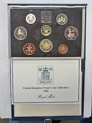 {BJSTAMPS}  1986 UK Proof Set Royal Mint 8 Coin Set