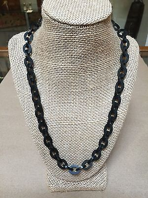 Antique Victorian Gutta Percha Necklace-mourning Jewelry