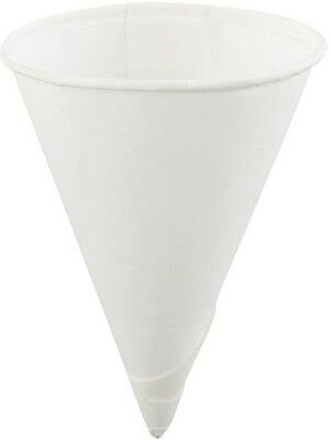 4 oz. Single-Use Paper Cone Cup White Rolled Rim (Case of 25)