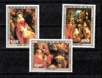 Mali Sc# C316-C318 Rubens Painting:adoration Of The Three Kings - Christmas 1977