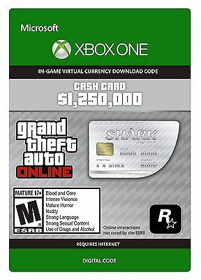 Grand Theft Auto GTA V 5 Online Great White Shark $1,250,000 Cash Card XBOX ONE