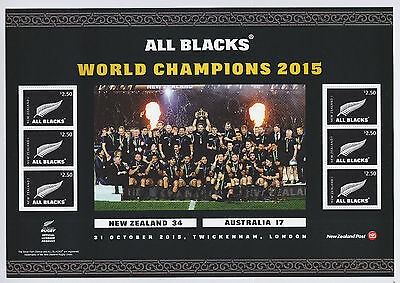 New Zealand - 2015 All Blacks - Rugby World Cup Champions Sheet - UHM - #150045