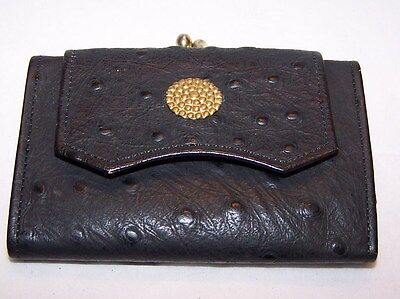 Princess Gardner Cowhide leather Coin Purse / wallet Mid-century Black