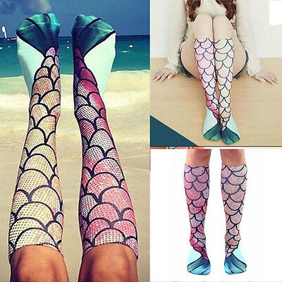 Womens Girls Funny 3D Mermaid Printing Socks Knee High Stockings Cosplay Costume