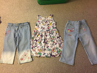 2 Pair Of Girls Next Jeans And 1 H&m Dress Age 7 Years