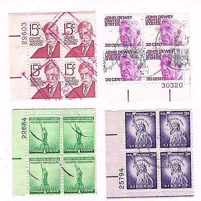 (12-550) 4  Cancelled  Plate Blocks USA  Postage sTamsps