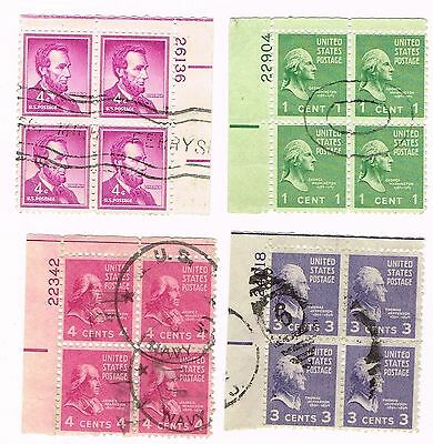 (12-547) 4  Cancelled President  Plate Blocks USA  Postage sTamsps