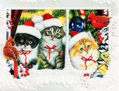 10 Boxed Embossed Christmas Cards Calico Grey & Orange Tabby Cats Cat Kitten