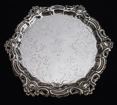 Antique early Victorian solid silver card tray by Joseph Rodgers, Sheffield 1844