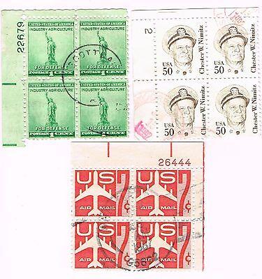 (12-540) 3 Cancelled   Plate Blocks, USA  Postage sTamsps
