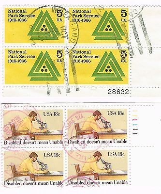 (12-524) 2 Cancelled  Plate Blocks,  USA  Postage sTamsps