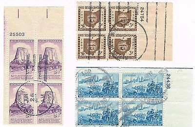 (12-519) 3 Cancelled  Plate Blocks,  USA  Postage sTamsps