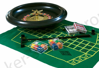 """ROULETTE WHEEL SET 16"""" 40CM PLAYING CARDS CHIPS FELT - Cosmetic damage to box"""