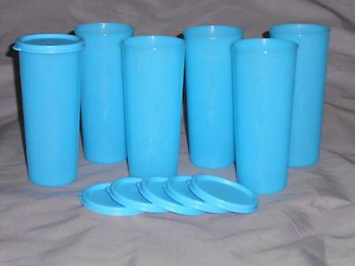 Tupperware set of 6 blue tumblers cups with seals lids 16 oz