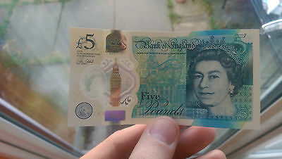 (AD) 2016 Bank of England £5 Five Pound Note Genuine & New Plastic / Polymer