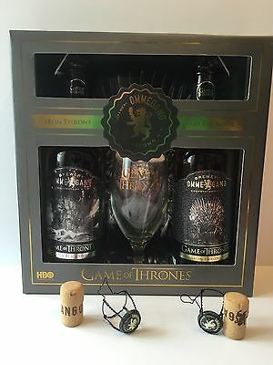 Ommegang 2015 Game of Thrones Collectors Set. Empty Bottles And Glass.